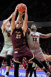 NORMAL, IL - February 02: Isaac Gassman, Cameron Krutwig and Rey Idowu all get their hands on a loose ball during a college basketball game between the ISU Redbirds and the University of Loyola Chicago Ramblers on February 02 2019 at Redbird Arena in Normal, IL. (Photo by Alan Look)