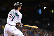 PHOENIX, AZ - JULY 05:  Paul Goldschmidt #44 of the Arizona Diamondbacks hits a sacrifice fly during the fifth inning of the MLB game San Diego Padres at Chase Field on July 5, 2016 in Phoenix, Arizona.  (Photo by Jennifer Stewart/Getty Images)