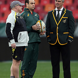 PORT ELIZABETH, SOUTH AFRICA - JUNE 27: John McFarland Defence Coach of South Africa with Johann van Graan Forwards Coach of South Africa and Heyneke Meyer (Head Coach) of South Africa during the South African National rugby team captains run and official team photograph at Nelson Mandela Bay Stadium on June 27, 2014 in Port Elizabeth, South Africa. (Photo by Steve Haag/Gallo Images)