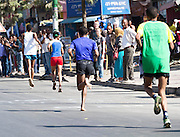 22/11/2015  repro fee.  A group of 25 from Gorta-Self Help Africa travelled to the capital of Ethiopia Addis Ababa for the great Ethiopian run which is Ethiopia's Haile Gebrselassie last race seen here running bare foot for the last KM  .  In temperatures in the mid 30 degree heat and 40,000 people and a city at 7,500 feet above sea level, it&rsquo;s no mean feat.   Photo:Andrew Downes <br /> <br /> <br /> Pics to be used with Gorta - Self Help Arica images only