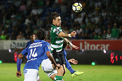 September 8, 2017 - Santa Maria Da Feira, Aveiro, Portugal - Sporting's Uruguayan defender Sebastian Coates (C) suffers a penalty during the Premier League 2017/18 match between CD Feirense and Sporting CP, at Marcolino de Castro Stadium in Santa Maria da Feira on September 8, 2017. (Credit Image: © Dpi/NurPhoto via ZUMA Press)