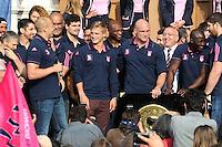 Jules PLISSON / Antoine BURBAN  - 15.06.2015 - Presentation du bouclier de Brennus par les joueurs du Stade Francais a l'Hotel de Ville - Paris <br /> Photo : Nolwenn Le Gouic / Icon Sport