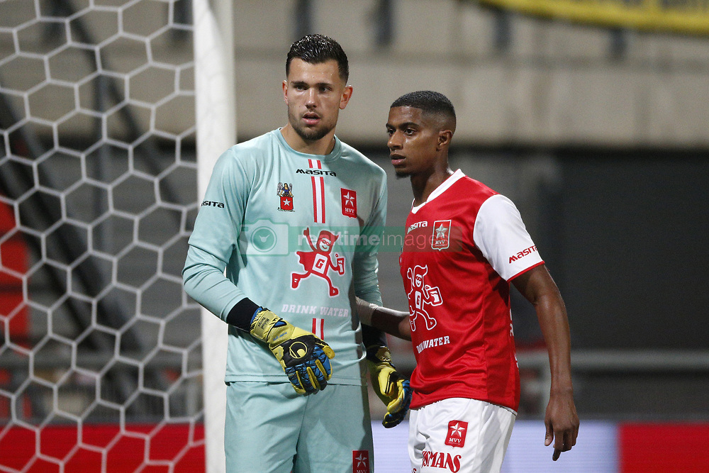 (L-R), Michael Verrips of MVV Maastricht, Steven Pereira of MVV Maastricht during the Jupiler League match between MVV Maastricht and SC Cambuur at the Geusselt on September 22, 2017 in Maastricht, The Netherlands.