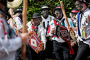 Thaxted Morris Weekend, Thaxted Essex England UK. 2-3 June 2018<br /> The 85th Meeting of the Member Clubs of the Morris Ring hosted by Thaxted Morris Men. Seen here the Silurian Side from Herefordshire outside the Farmhouse Inn at Monk Strret, Dunmow Essex on Saturday morning.