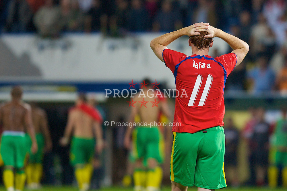 TEPLICE, CZECH REPUBLIC - SATURDAY, SEPTEMBER 2nd , 2006: Wales' James Collins looks dejected after losing 2-1 to the Czech Republic during the opening UEFA Euro 2008 Group D qualifying match at the Na Stinadlech Stadium. (Pic by David Rawcliffe/Propaganda)