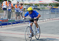 SO Athlete while cycling competition during 2011 Special Olympics World Summer Games Athens on June 27, 2011..The idea of Special Olympics is that, with appropriate motivation and guidance, each person with intellectual disabilities can train, enjoy and benefit from participation in individual and team competitions...Greece, Athens, June 27, 2011...Picture also available in RAW (NEF) or TIFF format on special request...For editorial use only. Any commercial or promotional use requires permission...Mandatory credit: Photo by © Adam Nurkiewicz / Mediasport