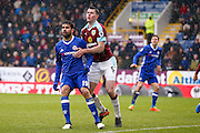 Chelsea forward Diego Costa (19) is picked up by Burnley defender Michael Keane (5)  during the Premier League match between Burnley and Chelsea at Turf Moor, Burnley, England on 12 February 2017. Photo by Simon Davies.
