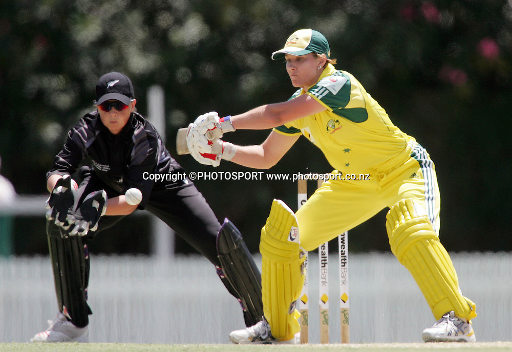 Australia's Melissa Bulow in action during the first ODI Rose Bowl cricket match between the White Ferns and Australia at Allan Border Field, Brisbane, Australia, on Friday 20 October 2006. Australia won the match by 2 with a total of 201. Photo: Renee McKay/PHOTOSPORT<br />