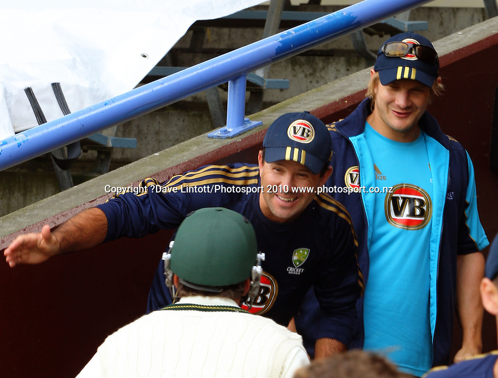 Australian captain Ricky Ponting and Shane Watson congratulate Marcus North on his unbeaten 112.<br /> 1st cricket test match - New Zealand Black Caps v Australia, day two at the Basin Reserve, Wellington.Saturday, 20 March 2010. Photo: Dave Lintott/PHOTOSPORT