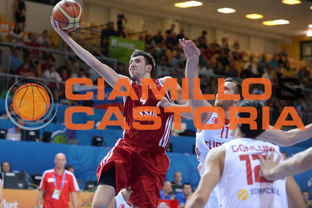DESCRIZIONE : Capodistria Koper Slovenia Eurobasket Men 2013 Preliminary Round Turchia Russia Turkey Russia<br /> GIOCATORE : Sergey Karasev<br /> CATEGORIA : Tiro<br /> SQUADRA : Russia Russia<br /> EVENTO : Eurobasket Men 2013<br /> GARA : Turchia Russia Turkey Russia<br /> DATA : 09/09/2013<br /> SPORT : Pallacanestro&nbsp;<br /> AUTORE : Agenzia Ciamillo-Castoria/Max.Ceretti<br /> Galleria : Eurobasket Men 2013 <br /> Fotonotizia : Capodistria Koper Slovenia Eurobasket Men 2013 Preliminary Round Turchia Russia Turkey Russia<br /> Predefinita :