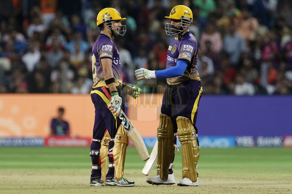Kolkata Knight Riders captain Gautam Gambhir and Robin Uthappa of the Kolkata Knight Ridersduring match 30 of the Vivo 2017 Indian Premier League between the Rising Pune Supergiants and the Kolkata Knight Riders  held at the MCA Pune International Cricket Stadium in Pune, India on the 26th April 2017<br /> <br /> Photo by Vipin Pawar- IPL - Sportzpics