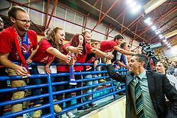 Head coach Dejan Mihevc of KK Tajfun Sentjur with fans after winning supercup basketball match between KK Krka Novo mesto and KK Tajfun Sentjur at Superpokal 2015, on September 26, 2015 in SKofja Loka, Poden Sports hall, Slovenia. Photo by Grega Valancic / Sportida.com