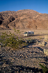 CA: Death Valley National Park, RV traveling through Death Valley                .Photo by Lee Foster, lee@fostertravel.com, www.fostertravel.com, (510) 549-2202.Image: cadeat214