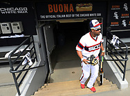 CHICAGO - APRIL 09:  Jose Abreu #79 of the Chicago White Sox looks on from the dugout prior to the game against the Minnesota Twins on April 9, 2017 at Guaranteed Rate Field in Chicago, Illinois.  (Photo by Ron Vesely)   Subject:  Jose Abreu