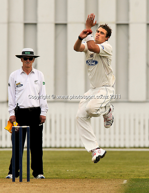 Tim Southee, Northern Districts, bowling against Auckland in a four day Plunket Shield cricket match at Cobham Oval, Whangarei, New Zealand, Tuesday November 8, 2011. Credit:Malcolm Pullman /Photosport