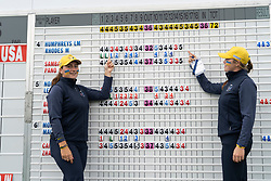 Auchterarder, Scotland, UK. 10 September 2019. Day one of the Junior Solheim Cup 2019 at the Centenary Course at Gleneagles. Tuesday Morning Foursomes. Pictured Mimi Rhodes (r) and Lily May Humphreys of Europe after winning 4&3. Iain Masterton/Alamy Live News