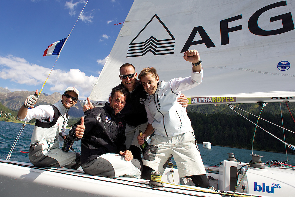 Mathieu Richard,Greg Evrard, Olivier Herledant, Yannick Simon, French Match Racing Team, winners of the St Moritz Match Race 2010. World Match Racing Tour. St Moritz, Switzerland. 5th September 2010. Photo: Ian Roman/WMRT.