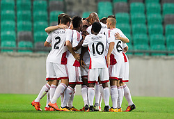 13.07.2016, SRC Stozice, Ljubljana, SLO, UEFA CL, NK Olimpija Ljubljana vs FK AS Trencin, Qualifikation, 2. Runde, Hinspiel, im Bild Players of Trencin celebrate after scoring second goal // during the UEFA Championsleague Qualifier 2nd round, 1st Leg Match between NK Olimpija Ljubljana and FK AS Trencin at the SRC Stozice in Ljubljana, Slovenia on 2016/07/13. EXPA Pictures &copy; 2016, PhotoCredit: EXPA/ Sportida/ Vid Ponikvar<br /> <br /> *****ATTENTION - OUT of SLO, FRA*****