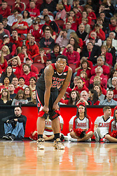 North Carolina State forward Beejay Anya. <br /> <br /> The University of Louisville hosted the North Carolina State, Saturday, Feb. 14, 2015 at the Yum Center in Louisville. NC State won 74-65.<br /> <br /> Photo by Jonathan Palmer