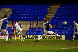 BIRKHENHEAD, ENGLAND - Monday, February 28, 2011: Liverpool's Daniel Pacheco scores the second goal against Blackburn Rovers during the FA Premiership Reserves League (Northern Division) match at Prenton Park. (Photo by David Rawcliffe/Propaganda)