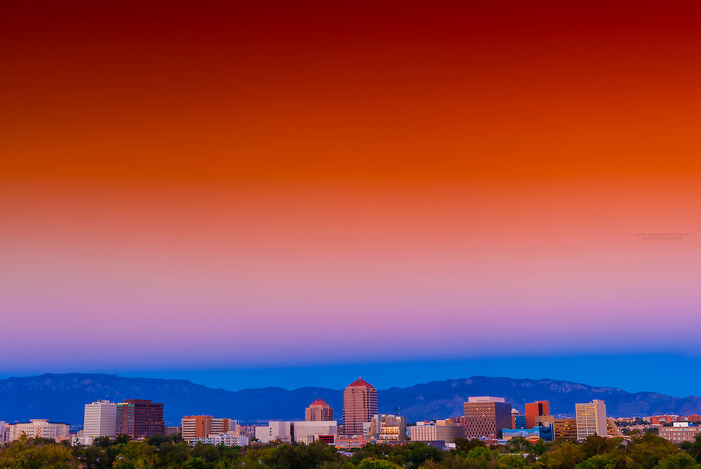 Skyline of downtown Albuquerque (at sunset), New Mexico USA