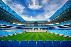 Vista geral das arquibancadas da Arena do Grêmio, localizada no bairro Humaitá, zona norte de Porto Alegre. De acordo com a Construtora OAS, responsável pelo empreendimento, o novo estádio tricolor será inaugurado dia 8 de dezembro de 2012 e será utilizado como campo oficial de treino durante a Copa do Mundo de 2014. FOTO: Jefferson Bernardes/Preview.com