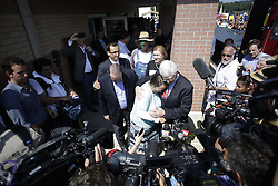Rowan County Clerk Kim Davis, center, was released from the Carter County Detention center, Tuesday, Sept. 08, 2015 at Carter County Detention Center in Grayson. Republican candidate for President Mike Huckabee, to her left and her attorney Matt Staver, to her right escorted her from the prison.  <br /> <br /> Photo by Jonathan Palmer, Special to the CJ