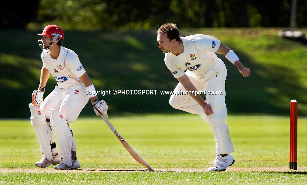 Reece Young for Canterbury, Mark Gillespie bowling for Wellington. Canterbury Wizards v Wellington Firebirds, Plunket Shield Game held at Mainpower Oval, Rangiora, Wednesday 16 March 2011. Photo : Joseph Johnson / photosport.co.nz