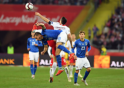 CHORZOW, Oct. 15, 2018  Leonardo Bonucci (L) of Italy vies with Robert Lewandowski of Poland during the UEFA Nations League football match between Poland and Italy in Chorzow, Poland, Oct. 14, 2018. Italy won 1-0. (Credit Image: © Maciej Gillert/Xinhua via ZUMA Wire)