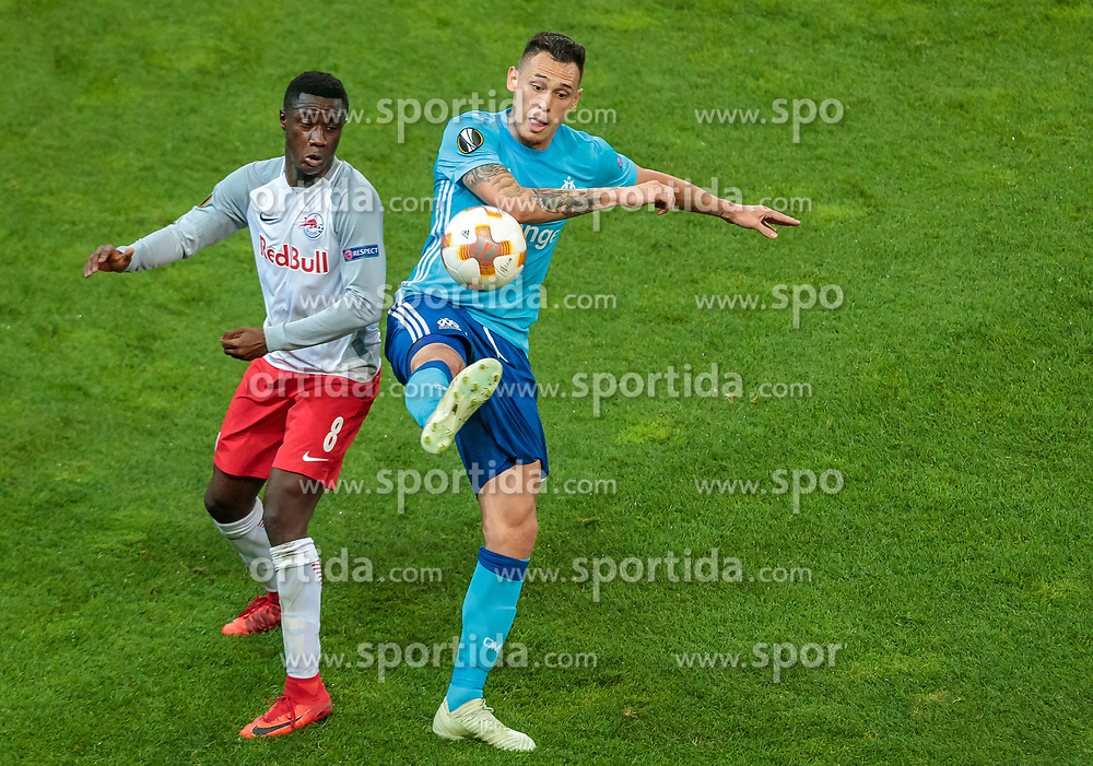 03.05.2018, Red Bull Arena, Salzburg, AUT, UEFA EL, FC Salzburg vs Olympique Marseille, Halbfinale, Rueckspiel, im Bild Diadie Samassekou (FC Salzburg), Lucas Ocampos (Olympique Marseille) // during the UEFA Europa League Semifinal, 2nd Leg Match between FC Salzburg and Olympique Marseille at the Red Bull Arena in Salzburg, Austria on 2018/05/03. EXPA Pictures © 2018, PhotoCredit: EXPA/ JFK