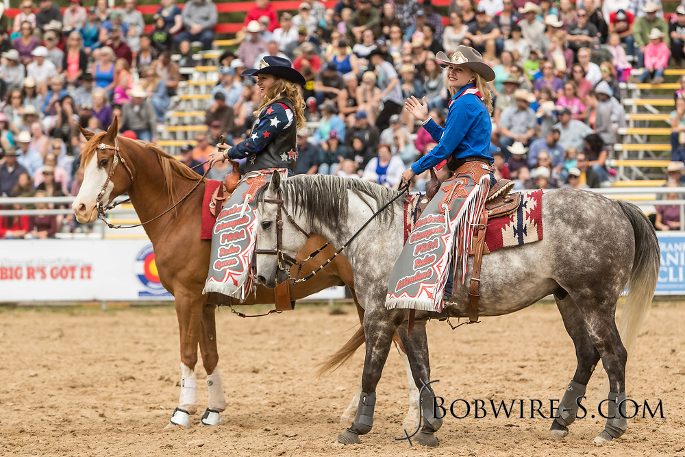 Queen Cassidy Esposito (left) and attendant Brittany Vogl during the third performance of the Elizabeth Stampede on Sunday, June 3, 2018.