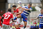 Reading striker Marc McNulty (29) and Nottingham Forest defender Tobias Figueiredo (3)  during the EFL Sky Bet Championship match between Nottingham Forest and Reading at the City Ground, Nottingham, England on 11 August 2018.