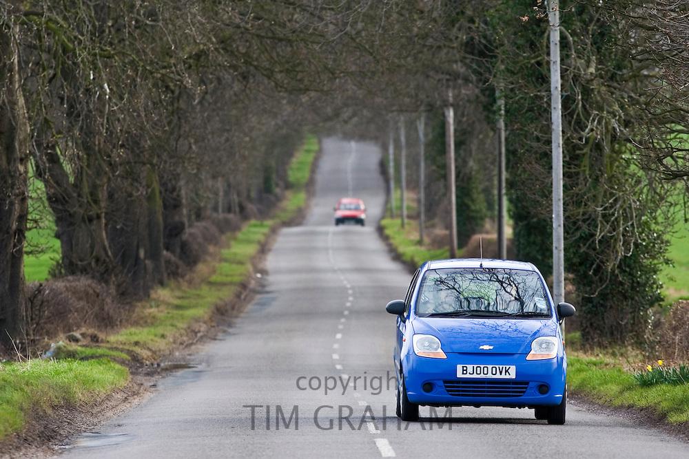 Car on a country road, Staffordshire, United Kingdom