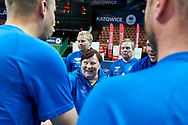 Katowice, Poland - 2017 September 03: Trainer coach SO Finland Eija Helander Nieminen smiles while final match between SO Russia and SO Finland during European Unified Volleyball Tournament 2017 at Spodek Hall on September 03, 2017 in Katowice, Poland.<br /> <br /> Adam Nurkiewicz declares that he has no rights to the image of people at the photographs of his authorship.<br /> <br /> Picture also available in RAW (NEF) or TIFF format on special request.<br /> <br /> Any editorial, commercial or promotional use requires written permission from the author of image.<br /> <br /> Image can be used in the press when the method of use and the signature does not hurt people on the picture.<br /> <br /> Mandatory credit:<br /> Photo by © Adam Nurkiewicz / Mediasport