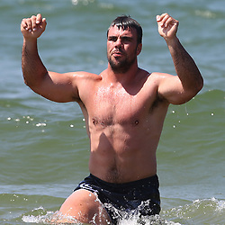 DURBAN, SOUTH AFRICA, December 10. 2015 - Francois Klenhans during The Cell C Sharks Pre Season Beach South Beach training for the 2016 Super Rugby Season . (Photo by Steve Haag)<br /> images for social media must have consent from Steve Haag