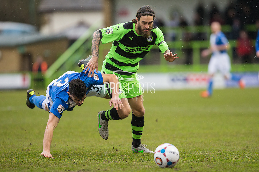 Forest Green's Rob Sinclair tangles with Eastleigh's Mike Green during the Vanarama National League match between Forest Green Rovers and Eastleigh at the New Lawn, Forest Green, United Kingdom on 20 February 2016. Photo by Shane Healey.
