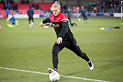 Salford City Defender Carl Piergianni warming up before  the EFL Sky Bet League 2 match between Salford City and Macclesfield Town at the Peninsula Stadium, Salford, United Kingdom on 23 November 2019.