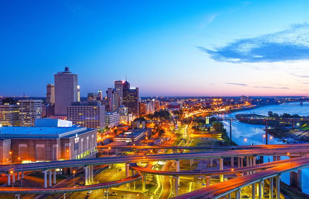 Highways converge in downtown Memphis as they approach a Mississippi River crossing.  Memphis is the largest city on the Mississippi River.