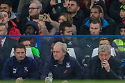 Dave Reddington, First Team Coach of Crystal Palace FC , Ray Lewington, Assistant Manager of Crystal Palace FC & Roy Hodgson, Manager of Crystal Palace FC during the Premier League match between Chelsea and Crystal Palace at Stamford Bridge, London, England on 4 November 2018.