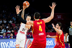 Aigars Skele of Latvia vs Nikola Vucevic of Montenegro and Nikola Ivanovic of Montenegro during basketball match between National Teams of Latvia and Montenegro at Day 11 in Round of 16 of the FIBA EuroBasket 2017 at Sinan Erdem Dome in Istanbul, Turkey on September 10, 2017. Photo by Vid Ponikvar / Sportida