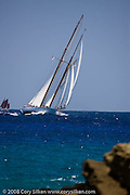 Eleonora sailing the Old Road Race at the Antigua Classic Yacht Regatta.