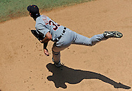 Detroit Tigers pitcher Justin Verlander (35) warms up before a game against the Kansas City Royals at Kauffman Stadium.