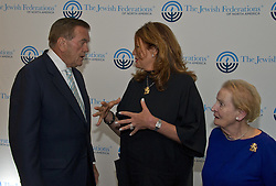 September 11, 2016 - Washington, District of Columbia, United States of America - Lisa Friedman Clark, center, who's husband Andrew Friedman, was killed in the World Trade Center attack on September 11, 2001, speaks with former United States Secretary of Homeland Security Tom Ridge prior to speaking before 1300 women philanthropists at the Jewish Federations' 2016 International Lion of Judah Conference at the Washington Hilton Hotel on Sunday, September 11, 2016.  Looking on at right is former US Secretary of State Madeleine Albright..Credit: Ron Sachs / CNP (Credit Image: © Ron Sachs/CNP via ZUMA Wire)