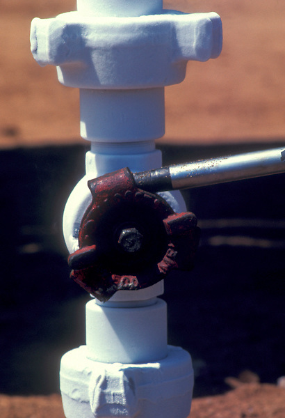 Valve on a white pipe