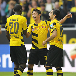 "13.09.2014, Signal Iduna Park, Dortmund, GER, 1. FBL, Borussia Dortmund vs SC Freiburg, 3. Runde, im Bild vl: Adrian Ramos (Borussia Dortmund #20), Torschuetze Shinji Kagawa (Borussia Dortmund #7) und Henrikh ""Micki"" Mkhihtaryan (Borussia Dortmund #10) beim Torjubel nach dem Treffer zum 2:0 // during the German Bundesliga 3rd round match between Borussia Dortmund and SC Freiburg at the Signal Iduna Park in Dortmund, Germany on 2014/09/13. EXPA Pictures © 2014, PhotoCredit: EXPA/ Eibner-Pressefoto/ Schüler<br /> <br /> *****ATTENTION - OUT of GER*****"
