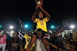 June 23, 2017 - Juba, Central Equatorial, South Sudan - In a rare moment of fun in Juba, capital of the war-ravaged nation of South Sudan, fans cheer as they watch the final match of the ''Ramadan League,'' between the winner Team Commando and Team Airport. South Sudan has been consumed by civil war that has left roughly two-thirds of the nation on the edge of famine brought by fighting and corruption. (Credit Image: © Miguel Juarez Lugo via ZUMA Wire)