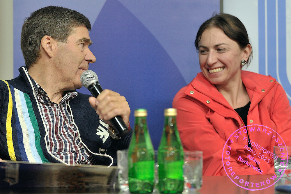 Aleksander Wierietielny (L) trainer coach of cross skiing and Justyna Kowalczyk (R) cross skiing athlete during conference of olympic trainers and coaches at COS (Centralny Osrodek Sportowy) in Spala on May 13, 2014.<br /> <br /> Poland, Spala, May 13, 2014<br /> <br /> Picture also available in RAW (NEF) or TIFF format on special request.<br /> <br /> For editorial use only. Any commercial or promotional use requires permission.<br /> <br /> Mandatory credit:<br /> Photo by &copy; Adam Nurkiewicz / Mediasport