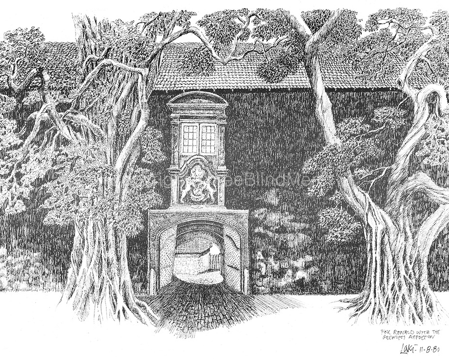 Drawing of entrance to the Galle Fort by Laki Senanayake.