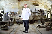 Christian Garcia, Chairman of the Club des Chefs des Chefs and Chef to His Serene Highness Prince Albert II of Monaco, poses for a portrait in the Cascina Colombara during the annual meeting of the Club des Chefs des Chefs in Livorno Ferraris, Vercelli, Italy, July 18, 2015.<br /> The Club des Chefs des Chefs, which is seen as the world's most exclusive gastronomic society, has extremely strict membership criteria: to be accepted into this highly elite club, you need to be the current personal chef of a head of state. If he or she does not have a personal chef, members can be the executive chef of the venue that hosts official State receptions. One of the society's primary purposes is to promote major culinary traditions and to protect the origins of each national cuisine. The Club des Chefs des Chefs also aims to develop friendship and cooperation between its members, who have similar responsibilities in their respective countries. <br /> The annual meeting of the Club has been hosted this year in the production site of the Italian rice company called Riso Acquerello. <br /> © Giorgio Perottino