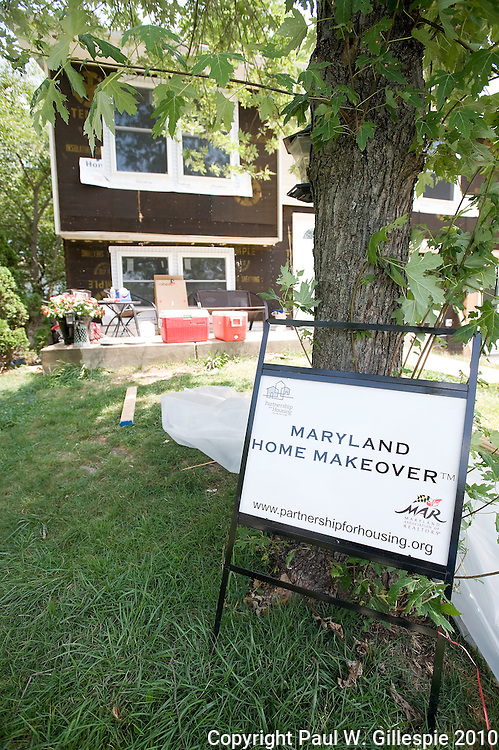 Contractors work on remodeling the Barry home. The Barry family, residing in the Four Seasons development near Gambrills in the western part of Anne Arundel County, has been selected as the second recipient of the MARYLAND HOME MAKEOVERª.  (Photo by Paul W Gillespie) 8/6/10